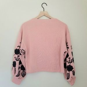 Sweaters - Boutique Blush Cozy Embroidered Cropped Sweater